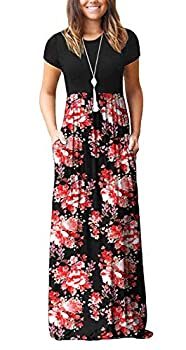 DEARCASE Women Summer Short Sleeve Loose Floral Printed Maxi Dresses Casual Long Dresses with Pockets Flower Red Black X-Large