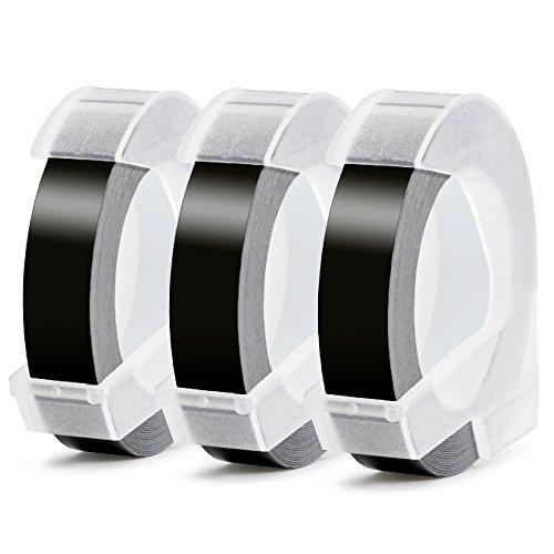 3D Nastro Etichette a Rilievo Aken compatibile in sostituzione di Dymo Embossing Tape Adesive S0847750 Bianca su Nero, per Dymo Junior Omega Etichettatrici a Rilievo, 9 mm x 3 m (Confezione da 3)