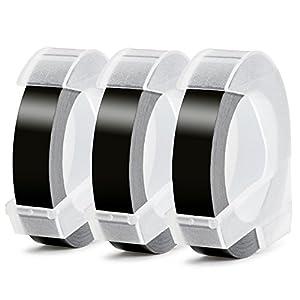 Aken - 3D Etiquetas compatible para usar en lugar de Dymo 9mm Embossing Impresora, 3D Cinta de estampación for Dymo Omega Junior Motex E101 E303 Estampadora, Blanco sobre Negro, 9 mm x 3 m, 3 Rolls