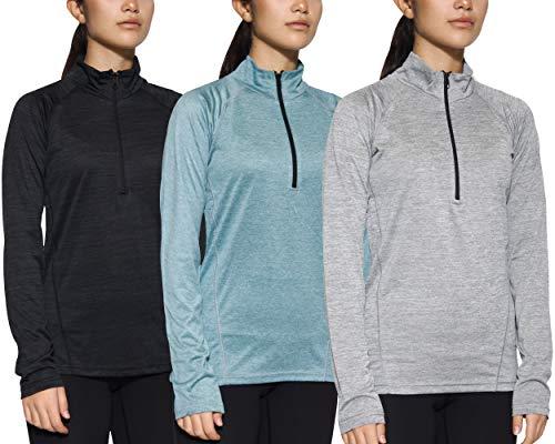 Paquete de 3 camisetas de manga larga con cierre de 1/4 cuarto para mujer, para correr o hacer yoga.,  Juego C, XXL