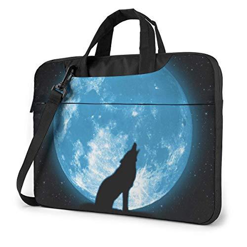 Howling Wolf con Bolsa de Mensajero con Hombro para computadora portátil Full Blue Moon, Funda para portátil con Funda para ultrabook HP