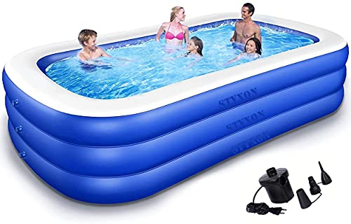 Styxon / Swimming Pool 10-Feet 3 Stripped Printed Inflatable Rectangle Bath Tub and Swimming Pool Bestway for Adults Kids Spa with Free Pump 120x 72'x24' Inch.