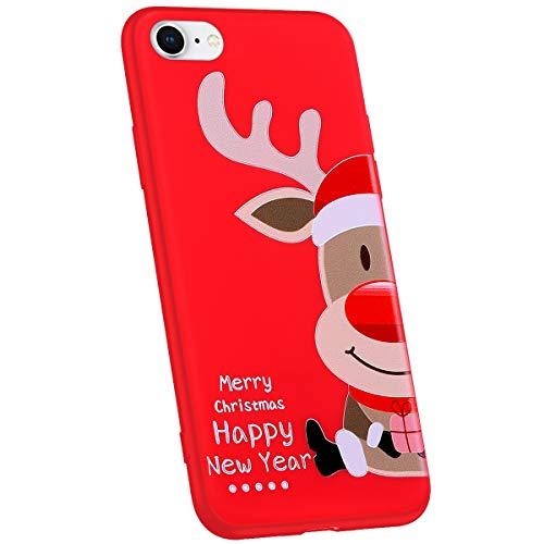Jinghuash Compatibel met iPhone 7/iPhone 8 beschermhoes rood siliconen Hoed hert