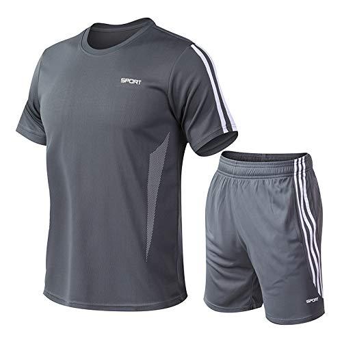 XXNSWD Costume de Sport Hommes Casual Hommes de Fitness Vêtements à Séchage Rapide de la Course de la Formation de Sport de Fitness Pantalon Costume - Gris - XL