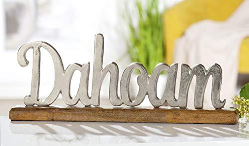 Moderne Aufsteller Style Home Dahoam Holz Schriftzug Alu I dekorative Skulptur mit Silber-Schrift I Dekoration Wohnzimmer Schilder Bayrisch Hoamat - Heimat, Daheim, Zuhause
