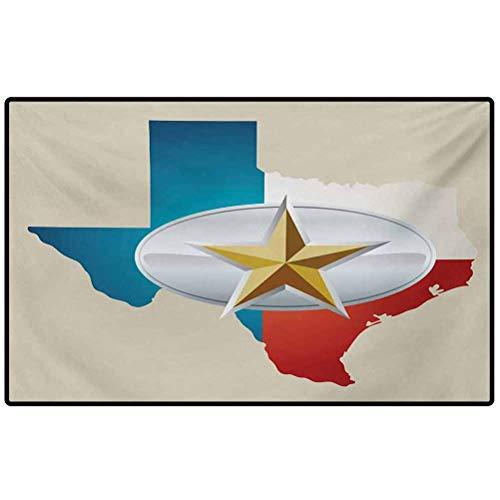 RenteriaDecor Texas Star Throw Rug Cowboy Belt Buckle Star Design with Texas Map Southwestern Parts of America 48x30 Floor Mat, Rug for Patio, Front Door