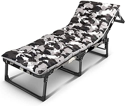 Folding Sunbed Garden Loungers And Recliners Camouflage WithOxford Cloth Fabric With Free Pllow, Backrest 6 Position Adjustment, 200 Kg Max,With Cushion