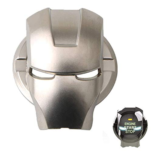 WEENOO Iron Man Shaped Auto Engine Ignition Start Stop Button Ring Circle Cover, Aluminum Alloy Car Interior Accessory Key Ring Circle Cover 3D Iron Man Car Interior Accessory (Silver)