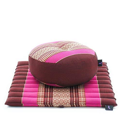 Leewadee Mini Set de méditation - Set de méditation en Kapok, Coussin et Tapis de méditation Zafu et Zabuton, Ensemble de 2 pièces, bai Rose Fuchsia