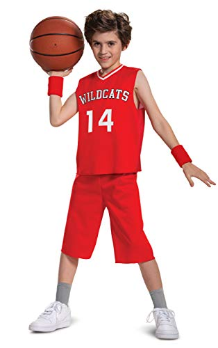 Disguise Troy Bolton Costume, High School Musical Disney Character Outfit, Kids Movie Inspired Basketball Uniform, Classic Child Size Large (10-12), Red (107019G)