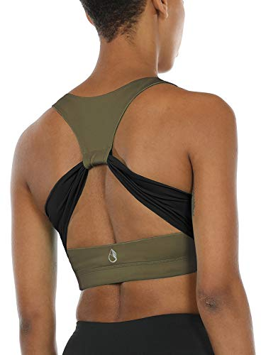 icyzone Damen Sport-BH Ohne Bügel Bustier Racerback Yoga BH mit Abnehmbare Gepolstert (XL, Army)