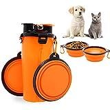 2-in-1 Cane Bottiglia d'acqua Distributore di cibo con 2 pieghevole Ciotole per cani, prova di perdita Mangiatoia per cani, Gatto e cucciolo All'aperto Viaggio Camminare escursione Campo, arancia