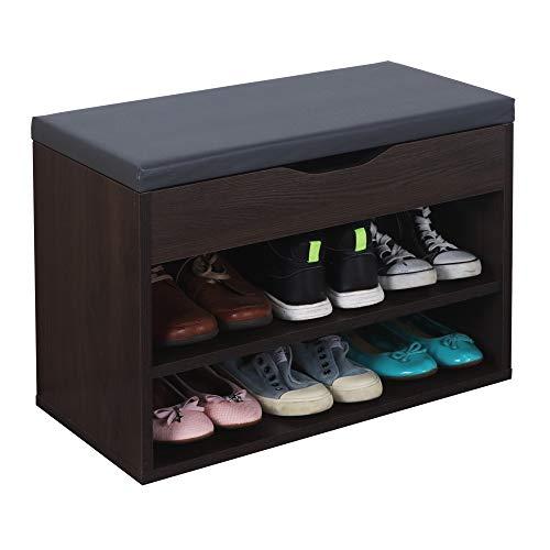 RICOO WM032-EB-A Banco Zapatero 60x42x30cm Armario Interior con Asiento Organizador Zapatos Mueble recibidor Perchero Madera Roble marrón Bomon
