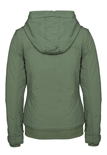 Sublevel Damen Winterjacke mit Kapuze & Stehkragen | Kapuzenjacke | Warme Steppjacke mit Daumenloch und geräumigen Taschen Middle-Green XS
