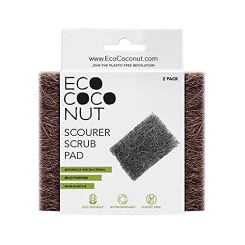 Eco Coconut Estropajador | Paquete de 2 estropajos respetuosos con el medio ambiente | Hecho con fibras de coco sin plástico que no se rayan