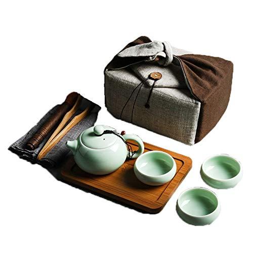 Multi Tee Set Kette Set, Trocken Tee Tablett Tee Tee Geschirr Teeausrüstung Trocknen Tee Tablett Reisen Tee Set Tasse Einfache japanische Stil Petatoren Teekanne Chinesische Tee Reiterkammer,Grün