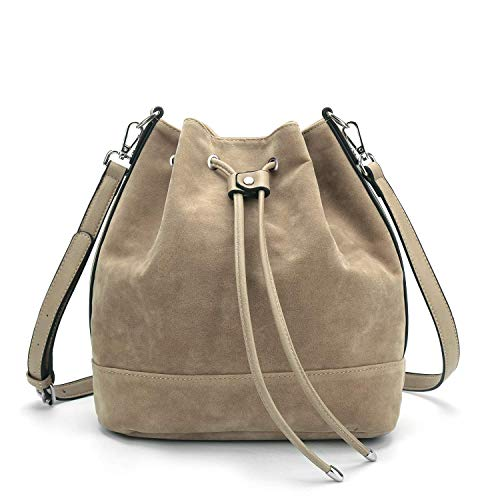 AFKOMST Drawstring Bucket Bag for Women Large Crossbody Purse and Shoulder Bag Suede Tote Handbags Camel