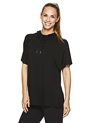 Gaiam Women's Short Sleeve Poncho Style Shirt - Hooded Activewear Yoga Top
