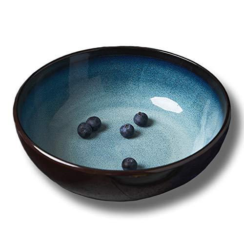 Pastateller aus Keramik, Großer Suppenteller Speiseteller, Pastateller Schale tiefer Teller Obstschale, Spülmaschinen-, Mikrowellengeeignet, Blau, 19.5cm