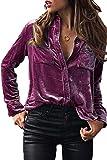 Sevozimda Las Mujeres Casual Camiseta Cuello Solapa Botón De La Blusa De Terciopelo Wined L