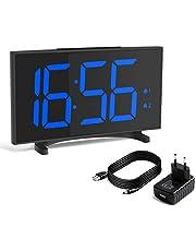 YISSVIC Despertadores Digitales, Reloj Despertador Digital, Pantalla LED de 6,5'', 6 Niveles de Brillos Ajustables, Snooze, 12/24H, Incluye Cable USB y Adaptador