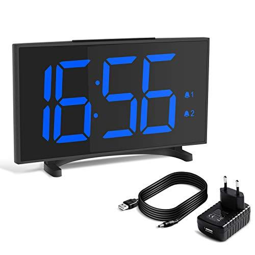 Yissvic Digital Wecker Uhr Tischuhr 12/24H Dual Alarm Easy Snooze 6 Einstellbare Helligkeit ultradünn mit 6,5 Zoll LED Display mit USB-Ladeanschluss Adapter (Verpackung MEHRWEG)