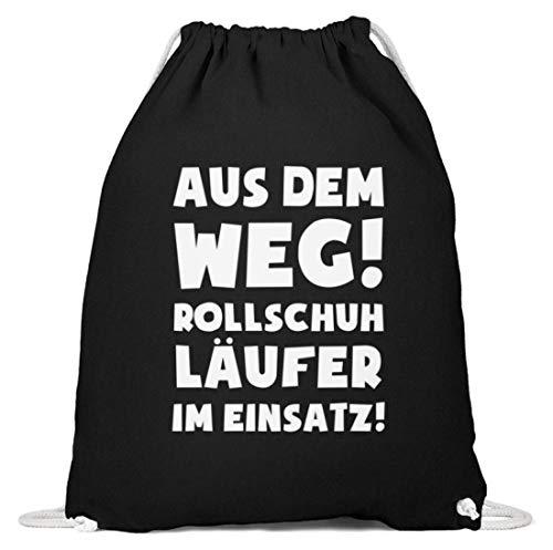 shirt-o-magic Rollschuhe: Rollschuhläufer im Einsatz! - Baumwoll Gymsac -37cm-46cm-Schwarz