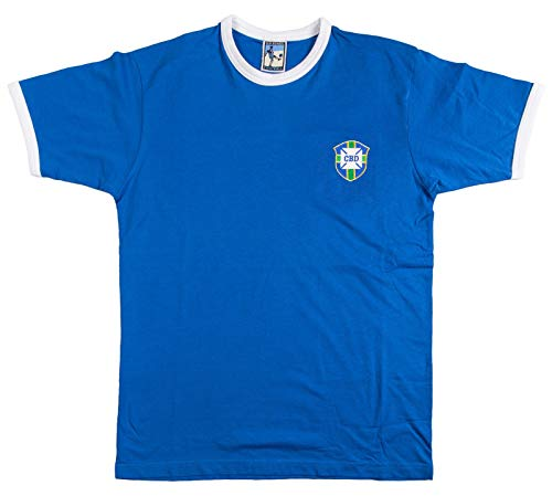 Old School Football Trikot Brasilien National 1950-1970er Auswärtstrikot Gr. S-XXL Logo gestickt M Royal/Weiß