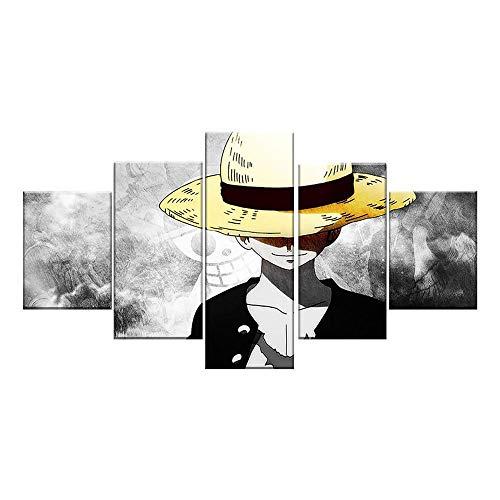 MXLYR 5 Piezas de Arte de Pared HD, póster de Anime, Imagen de una Pieza, póster de Mono, Pintura de Pared, decoración del hogar