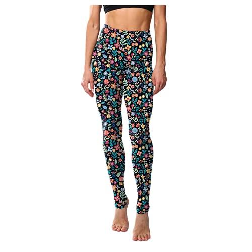 QTJY Pantalones de Yoga Delgados Retro clásicos para Mujer Estampado Floral Leggings de Cadera de Cintura Alta Deportes de Fitness Correr Pantalones de Yoga A S