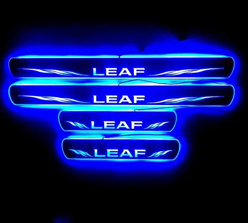 IDHIA 日産 リーフ LEAF LED キッキングプレート スカッフプレート サイドステップ ガーニッシュ イルミネーション機能付 黒鏡面 (ブルーLED)
