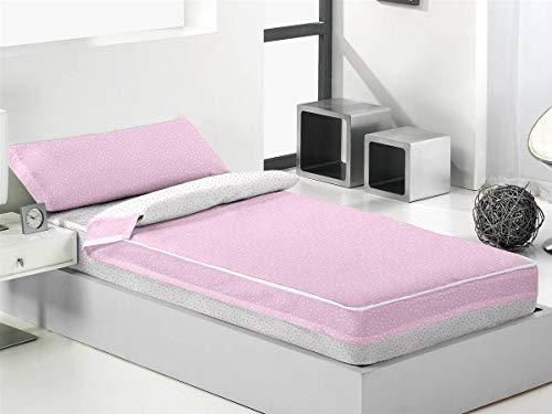 Lanovenanube - Saco nórdico Mole Cama 90 - Color 851 Rosa/Blanco con Relleno