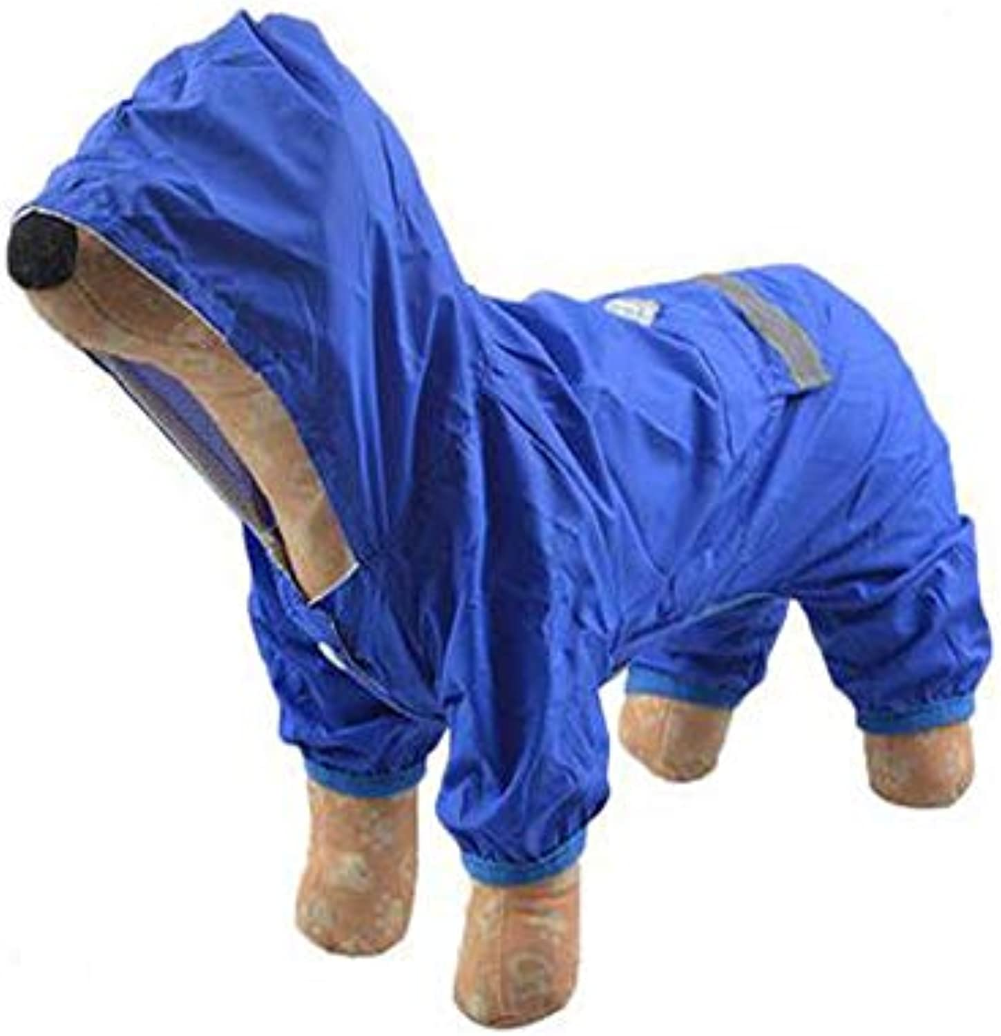 Chenjinxiang01 Pet Dog Raincoat, Medium and Small Dogs, Windproof Waterproof Warm Hoodie Delicate (color   bluee, Size   S)