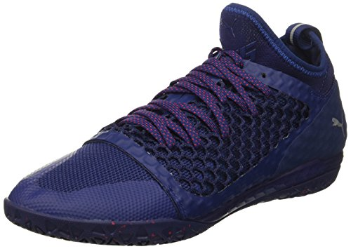 PUMA Men's 365 Ignite Netfit CT Soccer Shoe, Blue Depths White-Toreador, 12 M US