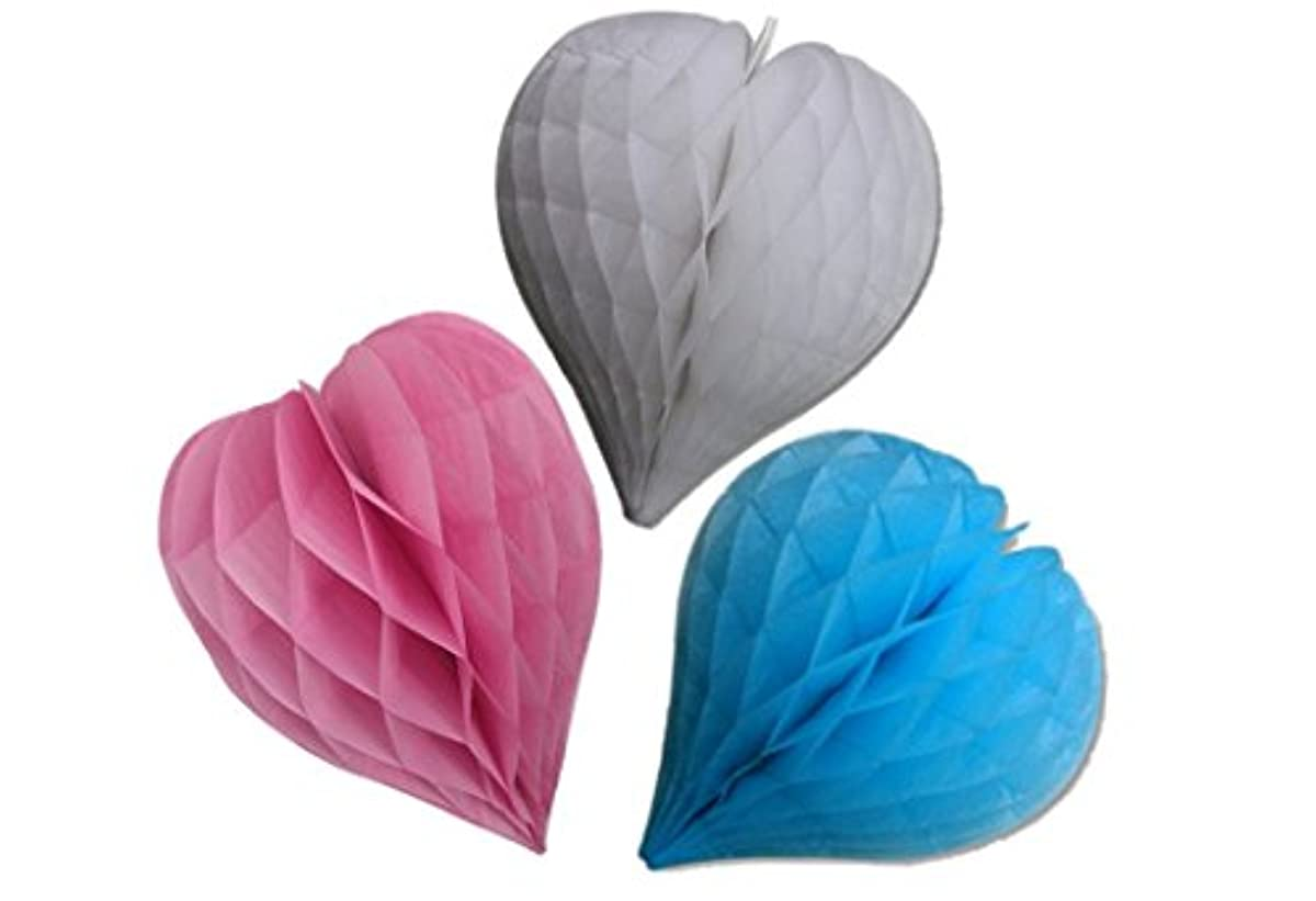 Matissa Pack of 3 Valentines Decoration Heart Shaped Paper Honeycomb Birthday Party Wedding Available in 11 Colours 3 Sizes (Pink + Blue + White, 10