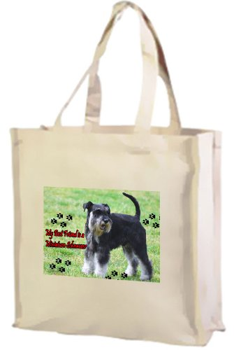 Miniature Schnauzer Dog Cotton Shopping Bag, Cream by Art2Wear