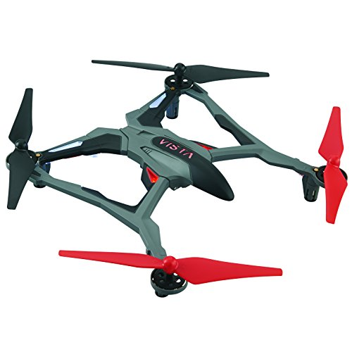 Dromida Vista Unmanned Aerial Vehicle (UAV) Quadcopter Ready-to-Fly (RTF) Drone with Radio System, Batteries and USB Charger (Red)