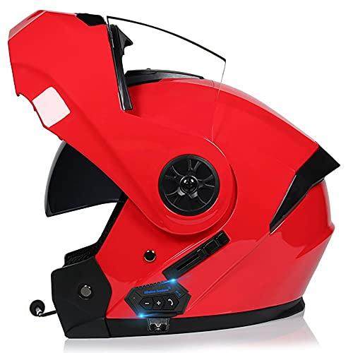 Casco De Moto Modular Bluetooth Integrado,Casco Ligero con Doble Parasol Anticolisión para Hombres Y Mujeres Scooter De Cuatro Estaciones Tipo Flip 55~62 CM