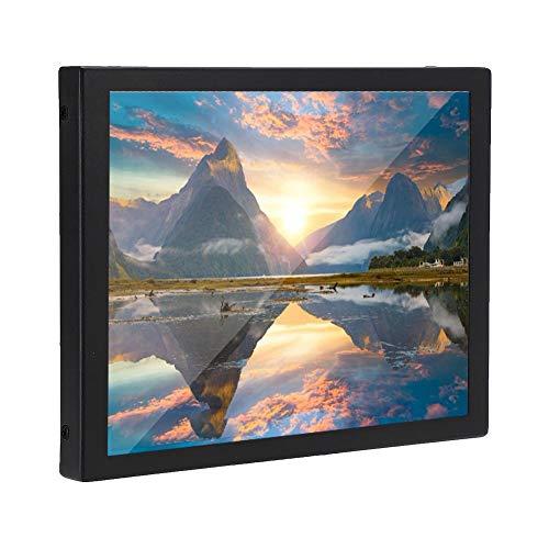 Monitor Industrial de Pantalla LCD de 8 Pulgadas, Monitor portátil 4: 3 1024 x 768 con Pantalla HD Compatible con Entrada VGA/BNC/AV, Adecuado para PC, CCTV, CCTV, cámara(Enchufe de la UE)