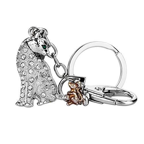 EVER FAITH Austrian Crystal Enamel Adorable Animal Cat and Mouse Friend Keychain Clear Silver-Tone