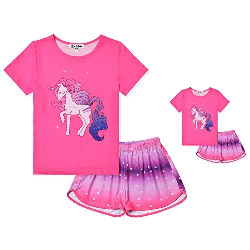Kids Star Unicorn Pajamas Matching Girls&Doll Summer Short Sleeve Pj Sets,Size 10 11