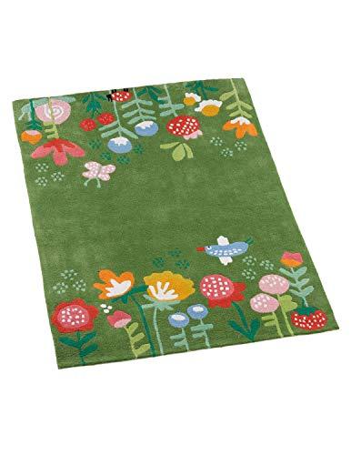 Kinderteppich 100% Baumwolle in Handarbeit hergestellt, Blumen, 100 x 130 cm
