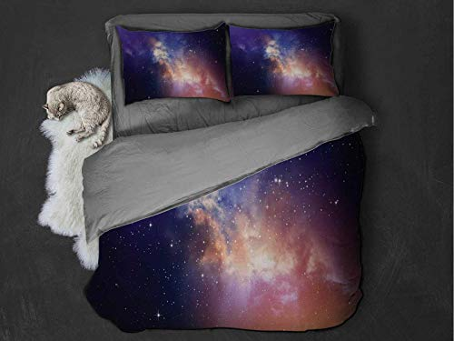 Toopeek Space 100% washed microfiber bed set Stars in Sky Supernova Comet Constellation Light Years Meteor Planetary Image Super soft and breathable duvet cover (Twin) Dark Blue Purple