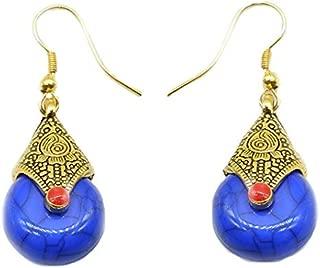 Antique Oxidized Tibetan Golden Drop Jhumka Earrings in Different Colors