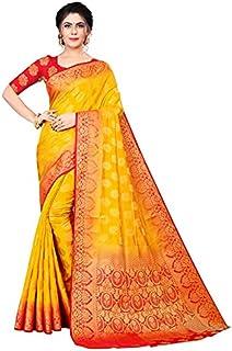 Neerav Exports Kanjivaram Silk With Rich Pallu Traditional Jacquard Saree (Orange)
