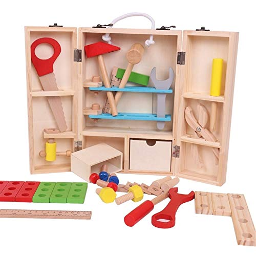 NOLOGO Puzzle-Liebhaber Holz Tool Box-Koffer Pretend Role Play Carpenter Assembly Zerlegbare Construction Spielzeug for Kinder