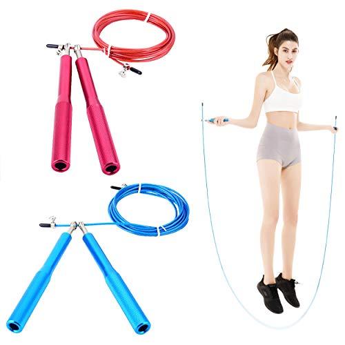 Carykon 2 cuerdas de aleación de aluminio con mango de acero para saltar cuerda de cuerda de saltar ajustable para hombres y mujeres (azul + rojo)