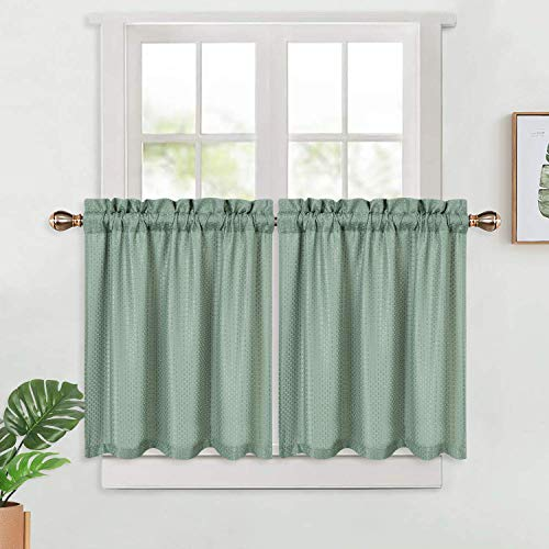 LinTimes Cortinas de cocina impermeables, con textura de tejido de gofre, cortinas cortas, para cocina, baño, sala de estar (76,2 x 76,2 cm, juego de 2)