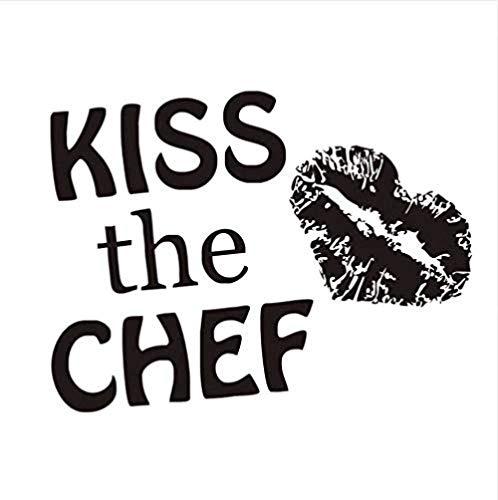 Pegatinas de Pared,Kiss The Chef Lady patrón de impresión de labios DIY diseño de arte extraíble vinilo cotizaciones calcomanía murales decoración del hogar extraíble 76X56Cm