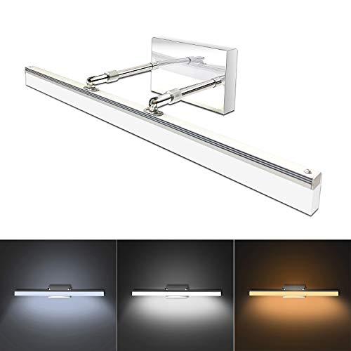 Lámpara de baño moderna LED de 23.8' de acero inoxidable ajustable retráctil lámpara de pared, 12 W LED 3 modos de iluminación de color función de memoria